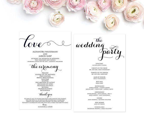 Wedding Program Template Wedding Programs Ceremony Program