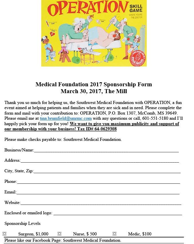 Medical Foundation 2017 Sponsorship Form March 30, 2017, The Mill