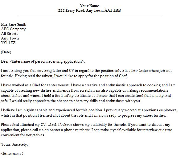 Bold And Modern Chef Cover Letter 11 Example - CV Resume Ideas