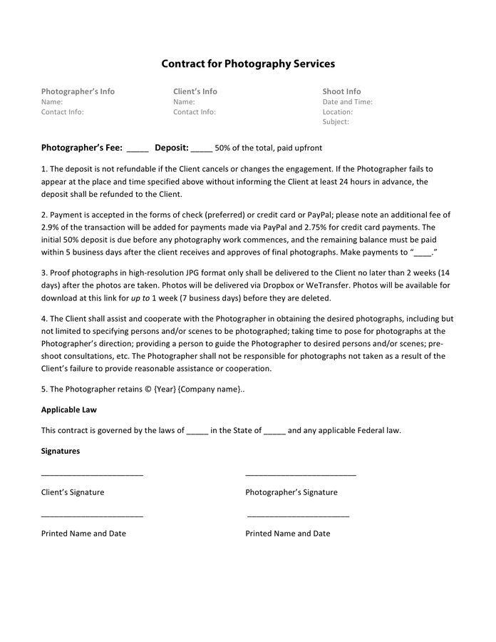 Photography Contract Template - download free documents for PDF ...