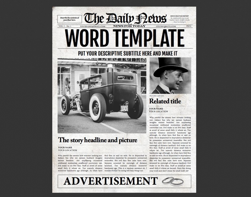 1 Page Microsoft Word Newspaper Template — newspaper designers