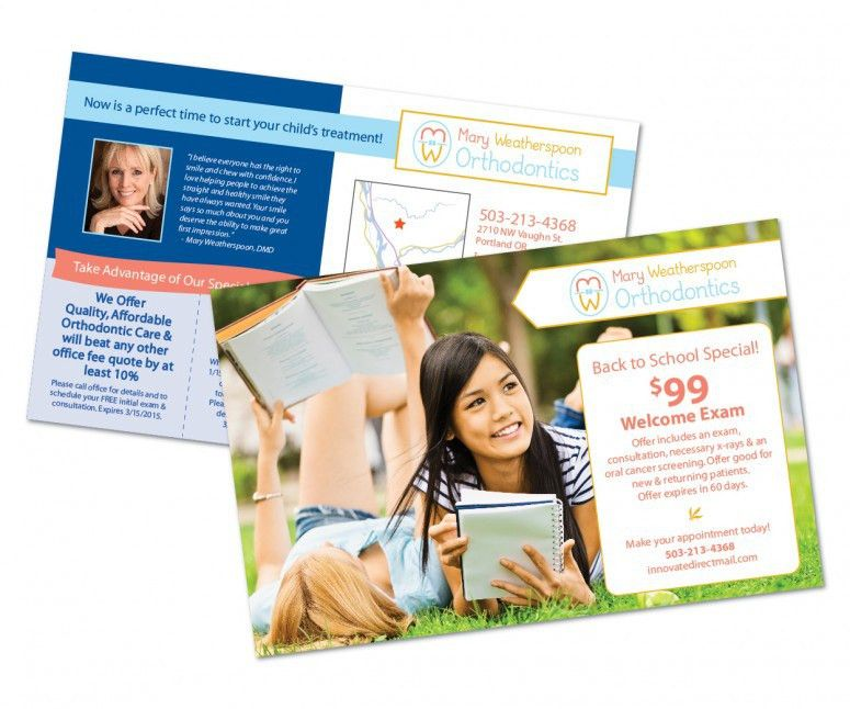 """5.5"""" x 8.5"""" front and back of a postcard for an orthodontist ..."""