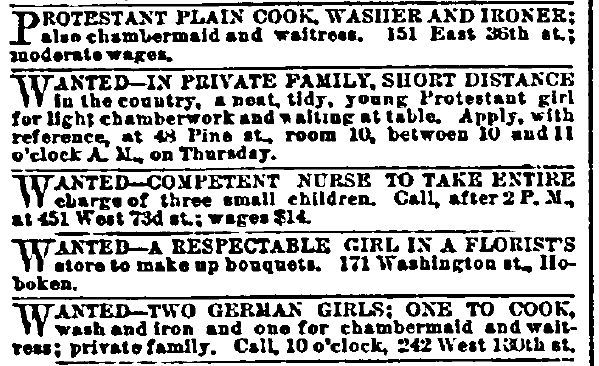 Help Wanted-Female Classified Ads: Working Women Ancestors
