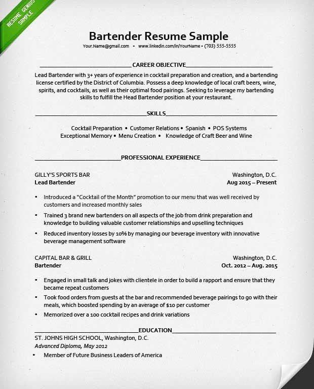 Surprising Resume Bartender 7 Bartender Resume Sample - Resume Example