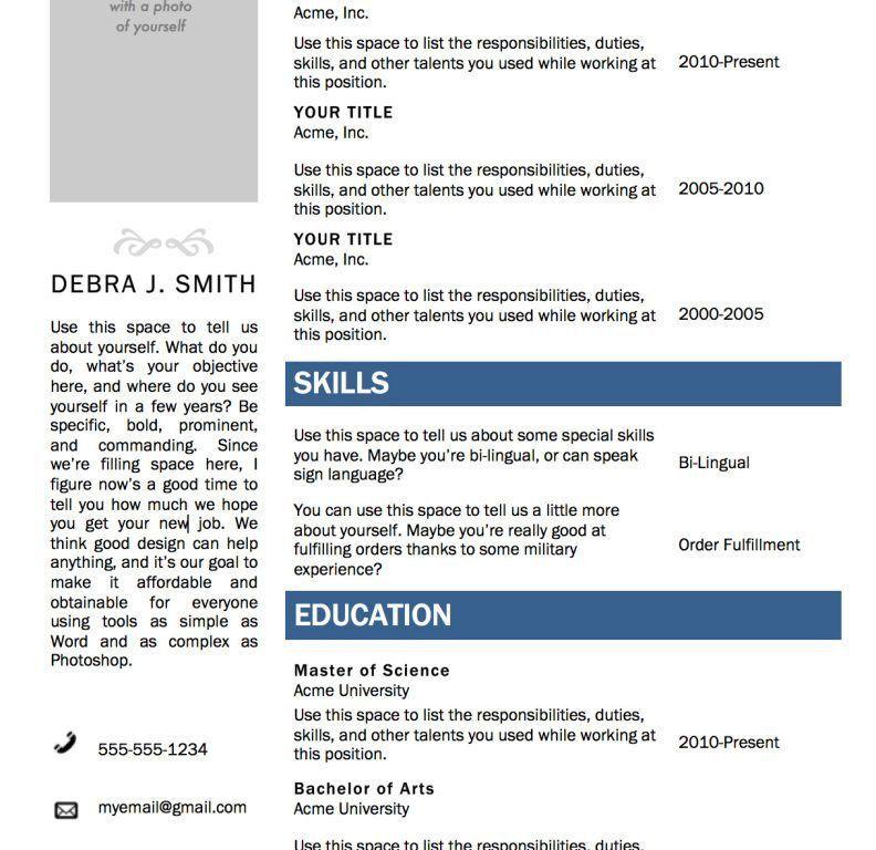 Word Templates Resume - CV Resume Ideas