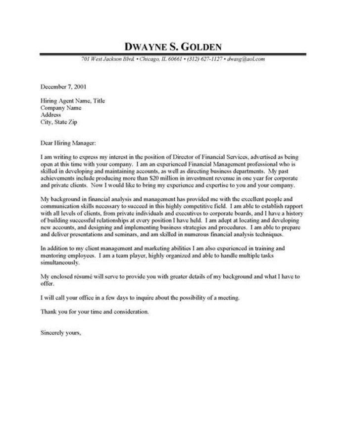Finance Cover Letter
