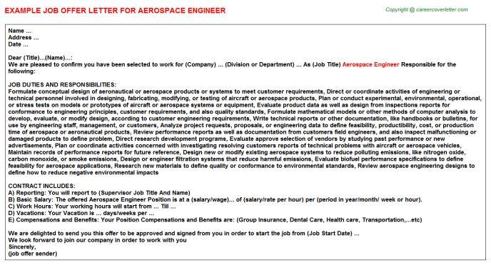 Boeing Aerospace Engineer Offer Letters