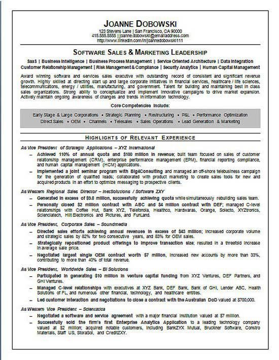 Software Sales Executive Resume Example | Executive resume, Resume ...