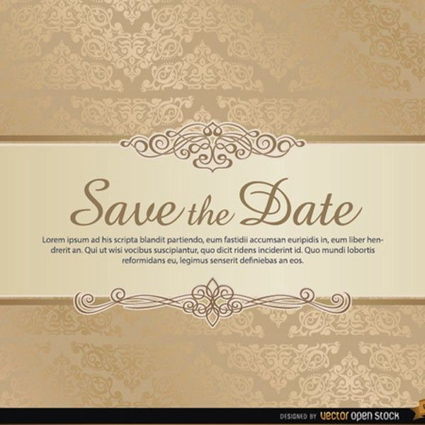 Damask Save the Date Vector Template | FreeVectors.net