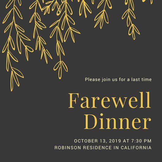 Black Gold Leaves Illustration Farewell Party Invitation ...