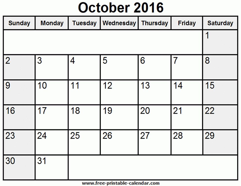 2016 Printable Calendar Template