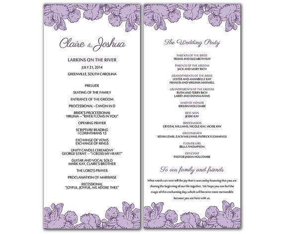 DIY Purple Poppy Flowers Wedding Program Microsoft Word Template ...