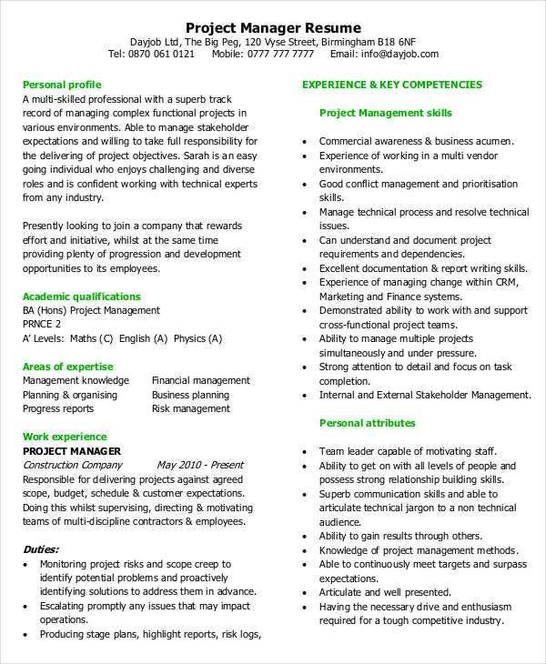 Project Manager Resume Templates. Functional Resume Template Word ...