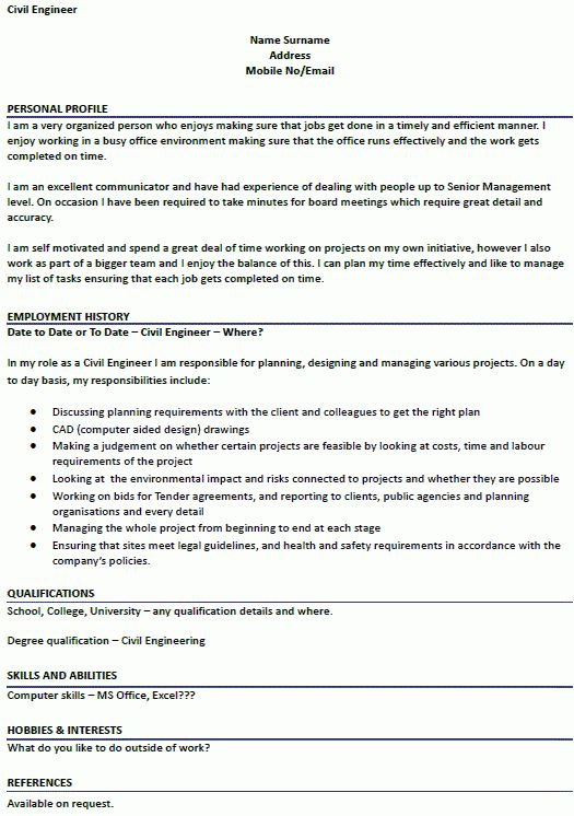 Civil Engineer CV Example - icover.org.uk