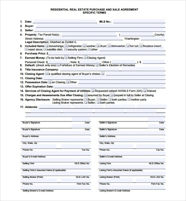 Sample Residential Purchase Agreement - 7+ Free Documents Download ...