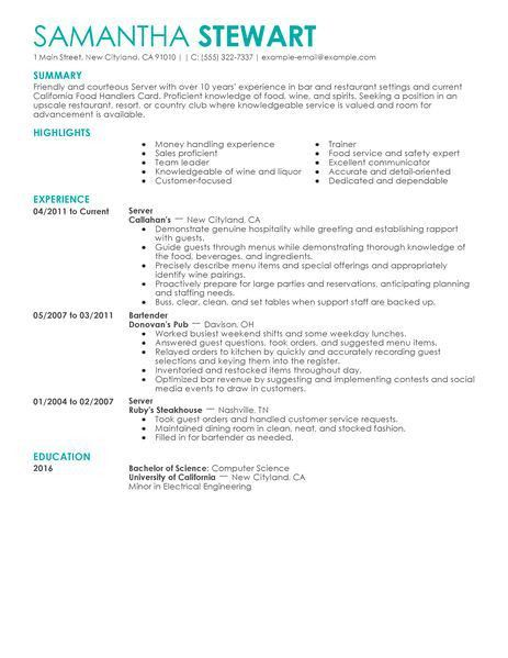 resume template server unforgettable server resume examples to