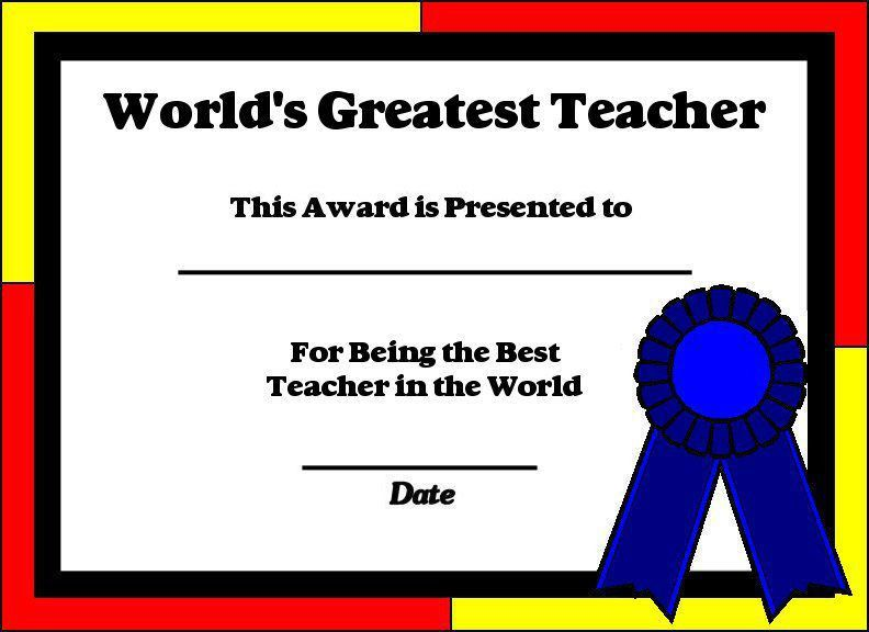 Printable Certificates for Teachers