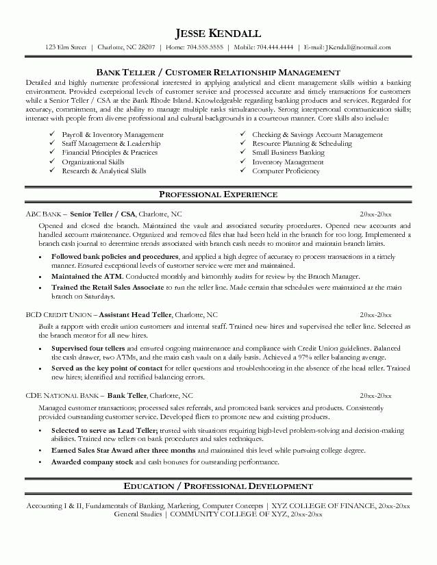 bank teller resume with no experience - Writing Resume Sample ...
