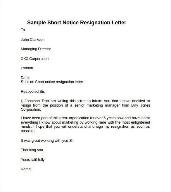 Sample Resignation Letter Short Notice - 6+ Free Documents ...