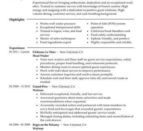 Server Job Description. Server Resume Sample 2016 Regarding ...