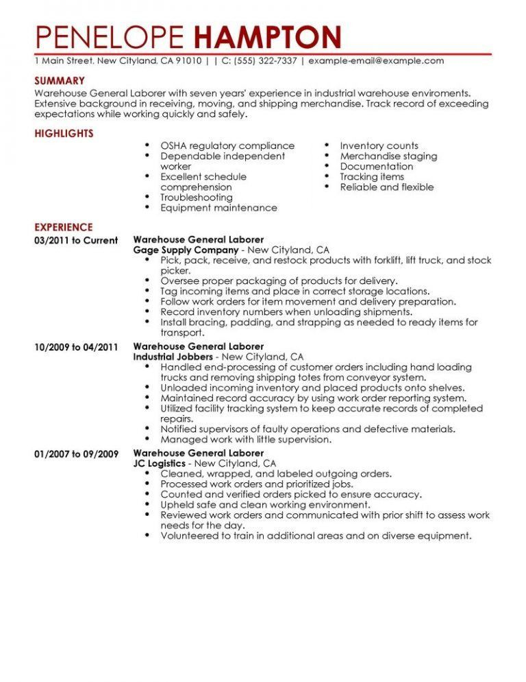 Most Interesting General Resume Examples 2 Best General Labor ...
