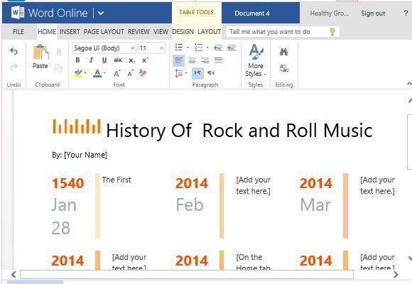 One Year Timeline Maker Template for Word