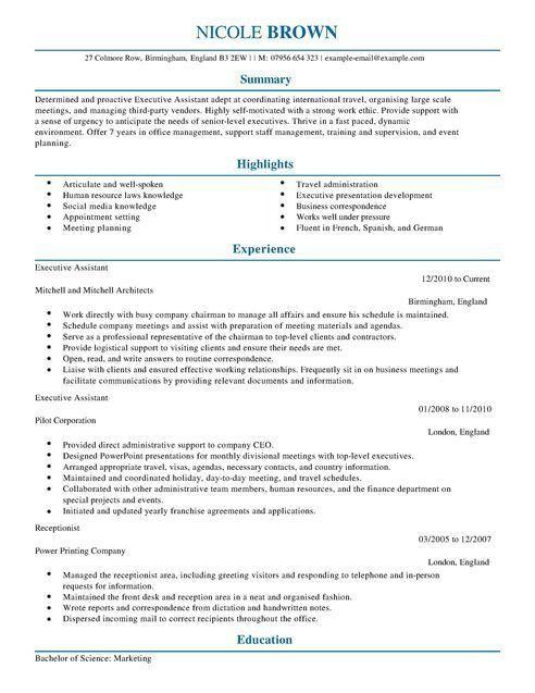 Executive Assistant CV Example for Admin | LiveCareer