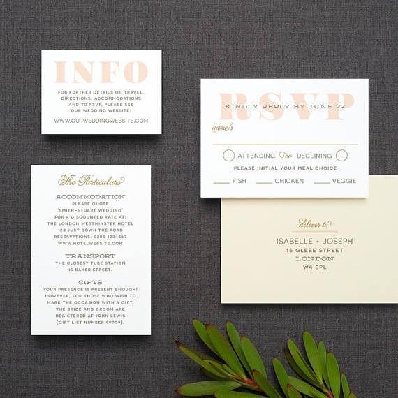 Modern Ticket Wedding Invitation / 'Typography Ticket'