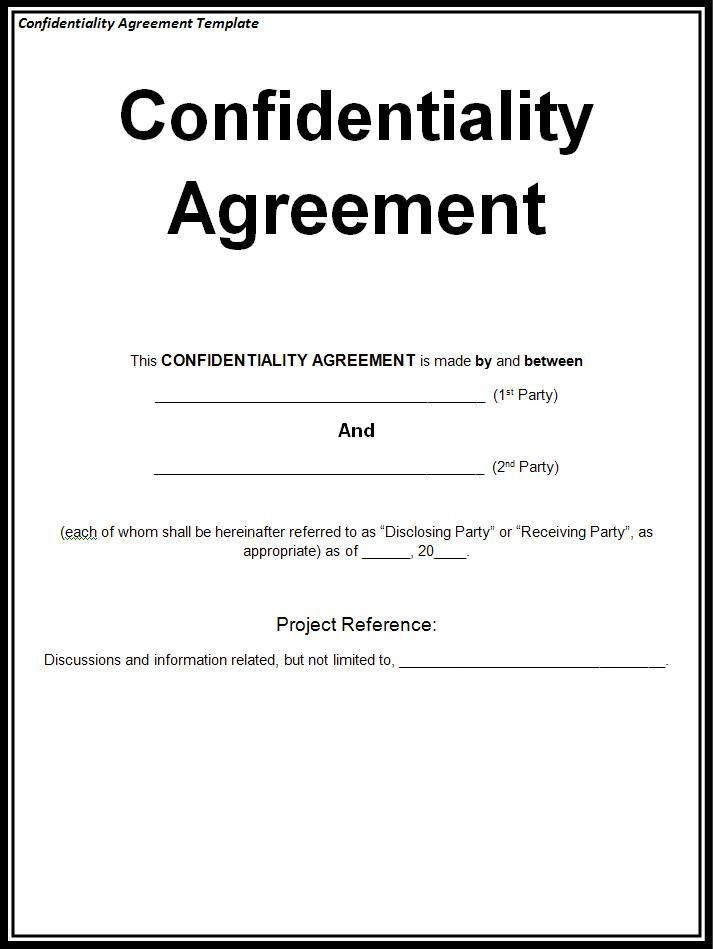 Confidentiality Agreement Template Free Confidentiality-Agreement ...