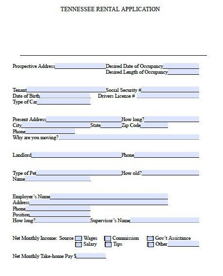 Free Tennessee Rental Application Form – PDF Template