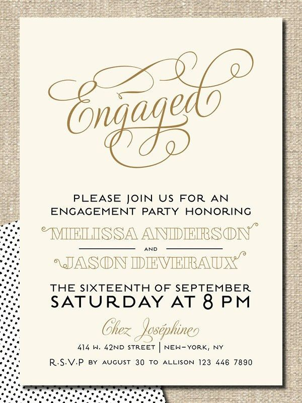 Please Join Us For An Engagement Party Honoring Cards With The Six ...