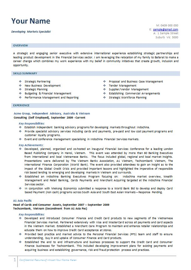 Business Consultant Resume Example Executive - Melbourne Resumes