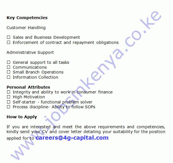 4G Capital Field Collections Agent Job in Kenya | Jobs in Kenya ...