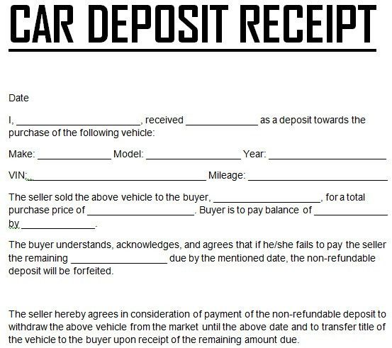Free Car Down Payment Deposit Receipt Template Excel : Vlcpeque