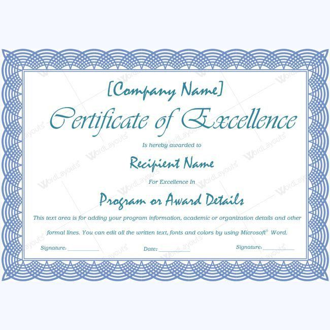 16 best Certificate of Excellence templates images on Pinterest ...