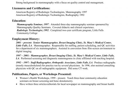 radiologic technologist resume samples resume example for a