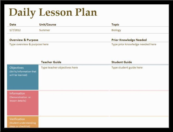 daily lesson plan templateReference Letters Words | Reference ...