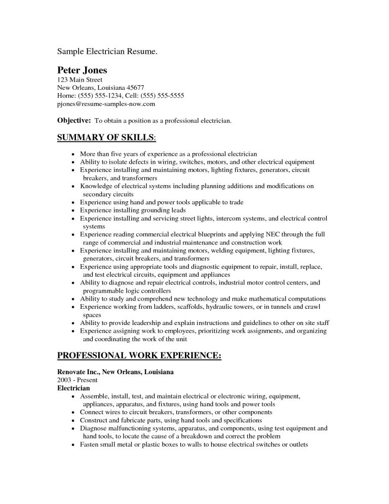 Glamorous Electrician Resume Sample 16 Objective - Resume Example