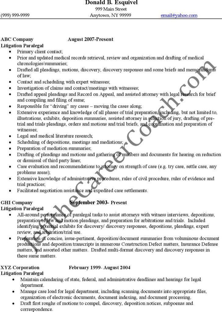 litigation paralegal resume sample paralegal resume samples