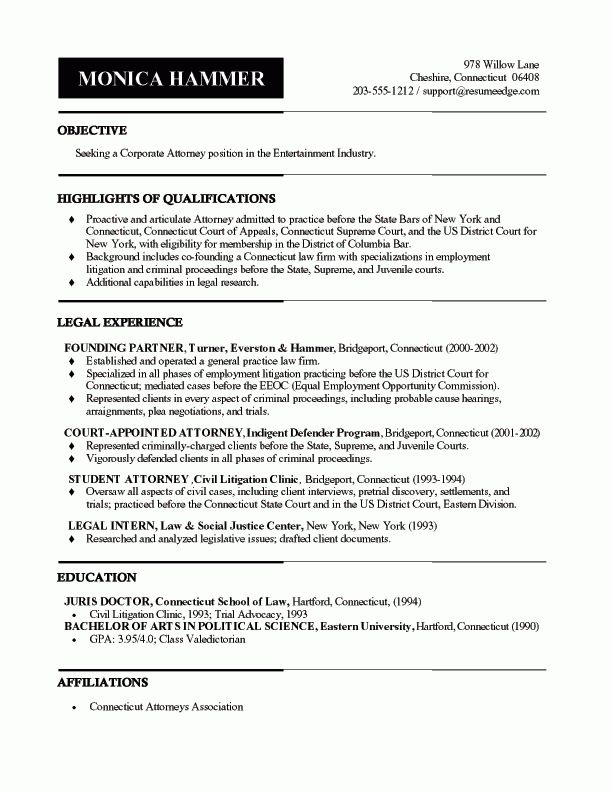 Effective Lawyer Resume Sample for You | Free Resume Generator
