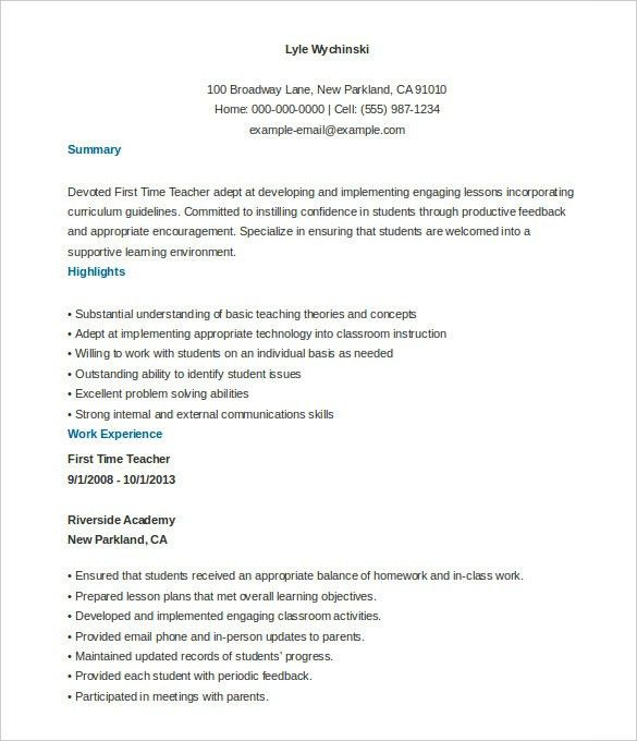 Teacher Resumes Templates Free. 17 Best Ideas About Teacher Resume ...