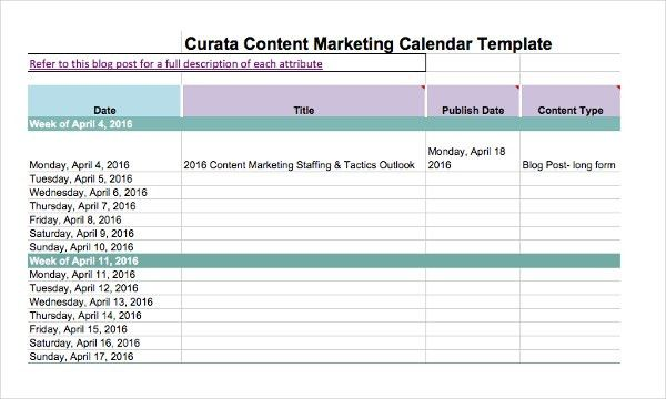 Marketing Calendar Template - 3 Free Excel Documents Download ...