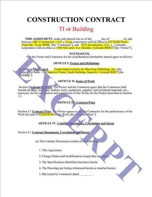 Construction Contract / TI Or Building: REALCREFORMS