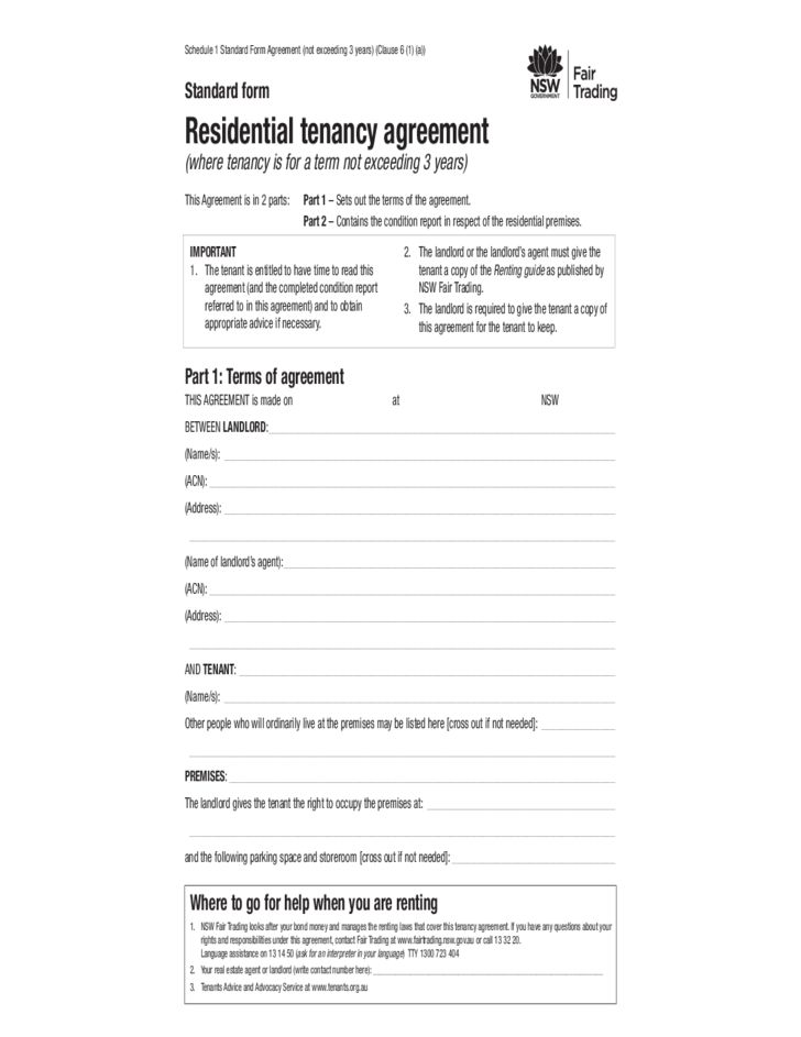 Standard Form for Residential Tenancy Agreement - New South Wales ...