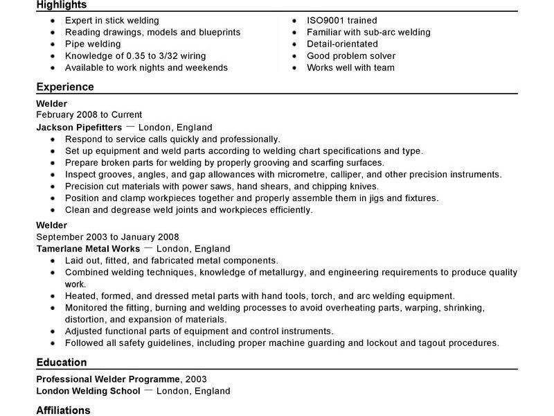 Welder Resume [Template.billybullock.us ]