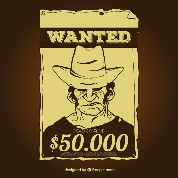 Vintage wanted poster template with reward Vector | Free Download