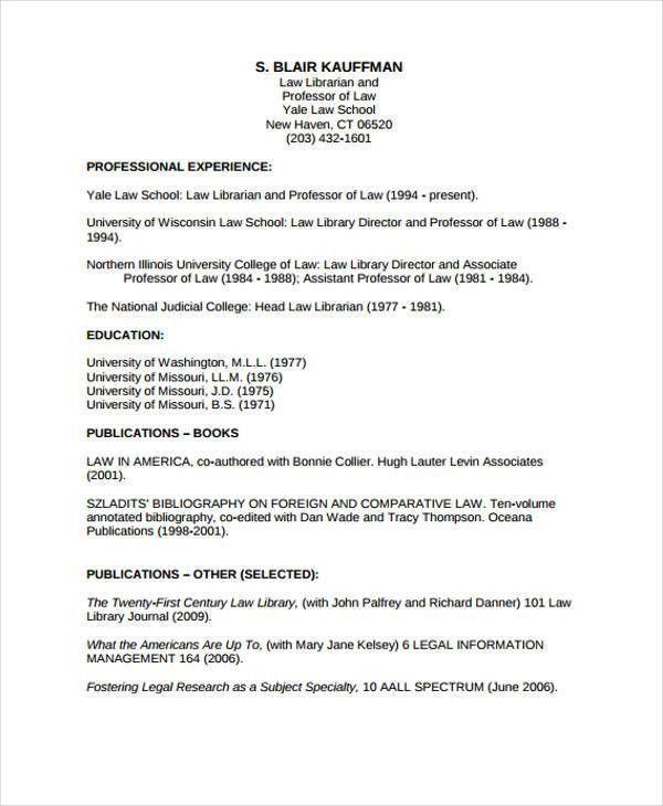 11+ Sample Law CV Templates | Free & Premium Templates