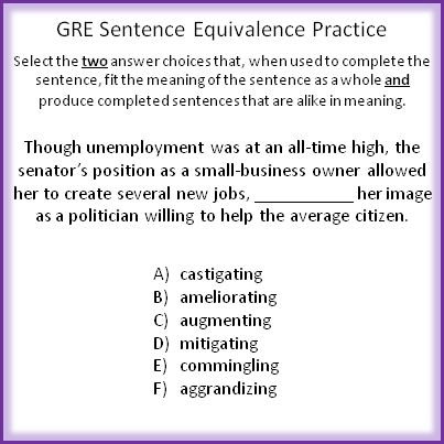 GRE Sentence Equivalence Basics and Practice Question