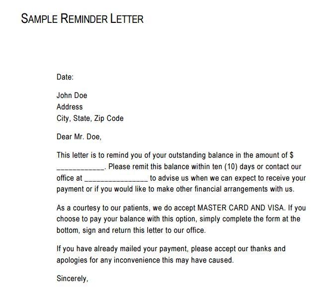 reminder letter template