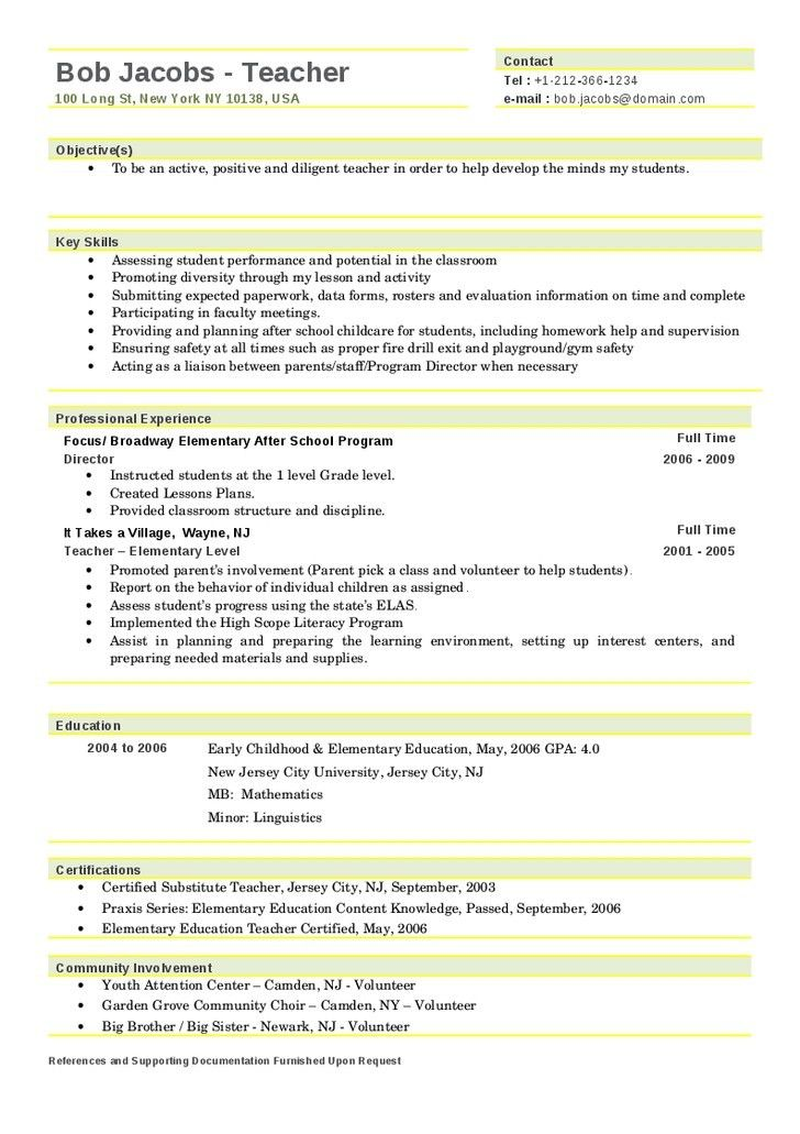 Daycare Resume. Educational Resume Examples Resume Templates ...